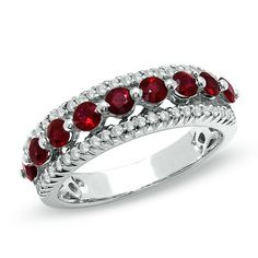 Ruby Nine Stone Band in 10K White Gold with Diamond Accents   $769.00