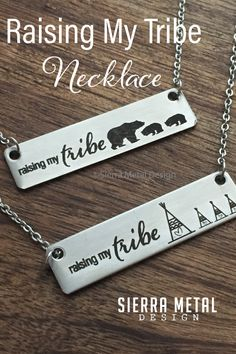 Raising My Tribe Necklace Raising My Tribe Jewelry Sierra Metal Design Bears or Teepees For Mom Necklace Mother's Day Gift Valentines Day Gift