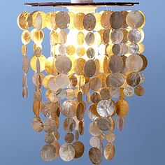 "Coffee 8"" Capiz Hanging Pendant Lantern 