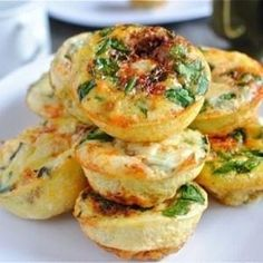 Mini Frittatas - Used this recipe as base for ones served at Elizabeth's bridal shower. Used sausage, green onion, Colby/Jack cheese, spinach, and added a little milk to the eggs. Everyone liked. Had issue with getting them to release from the pan.