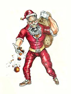 """You better not cry. You better not pout! Mean Santa--he's your worst nightmare, you naughty kids! Original Artwork done in ink and Copic marker on Bristol board 9"""" x 12"""" Signed and shipped with mat and backing board, in protective closure bag, without frame. Price: $50"""
