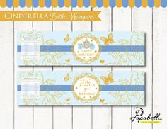 Cinderella Bottle Wrappers Printable for Cinderella Birthday Party. Personalized Cinderella Bottle Labels. DIY Cinderella Party Printable