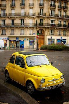 Old school Fiat 500 - yellow car Ferrari, Lamborghini, Maserati, Fiat Cinquecento, Fiat Abarth, Yellow Car, Mellow Yellow, Vintage Cars, Antique Cars