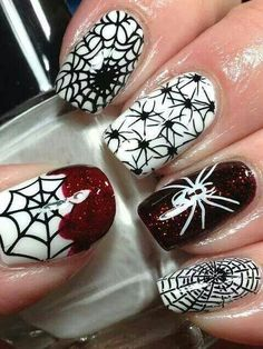 Creepy crawly spider nails will do the trick this Halloween!