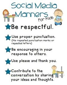 Social Media Manners for Kids! Being able to communicate on social media begins with basic manners. The simplicity of this would allow for the students to grasp a better understanding of how to interact. Social Media Etiquette, Social Media Tips, Social Media Marketing, Digital Marketing, Teaching Technology, Educational Technology, Social Work, Social Skills, Manners For Kids
