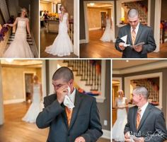 This couple planned to experience their reveal privately.  The groom's reaction to seeing his bride was priceless