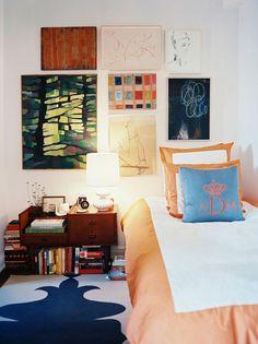 Madeline Weinrib Bue & White Orleans Cotton Carpet, via Lonny Magazine. Interior design by Angel Dormer.