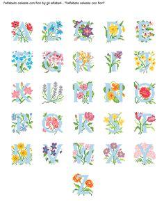 alfabeto celeste con fiori