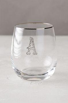 Etched Monogram Glass #anthroregistry #birthday