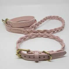 Pastel Pink Plaited & Personalised Leather Dog Collar