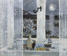 Another Year, Gary Bunt. Another year has sailed on by. The moon shines brightly in the sky. Soon the boats will leave the shore. As the fishermen go to sea once more. Art And Illustration, Illustrations, Am Meer, Naive Art, Seascape Paintings, Love Painting, Folk Art, Contemporary Art, Abstract Art