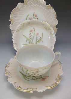 T&V Limoges 4pc Tea Cup Saucer Set Hand Painted Peach Pink Flowers Plate #TVLmoges