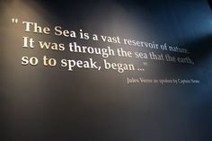 "From Ripley's Aquarium of the Smokies in East Tennessee: ""The Sea is a vast reservoir of nature. It was through the sea that the earth, so to speak, began..."" - Jules Verne as spoken by Captain Nemo."