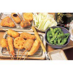 串かつ+キャベツ(味噌だれ)+枝豆