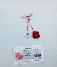 Items similar to Crochet flowers Martisor/ Martisoare/ Babamarta / Martenitsa ethnic symbol of sprin. Handmade by gudimaO on Etsy Handmade Jewelry, Unique Jewelry, Handmade Gifts, Long Flowers, Color Calibration, Crochet Flowers, Ethnic, Crochet Earrings, Symbols