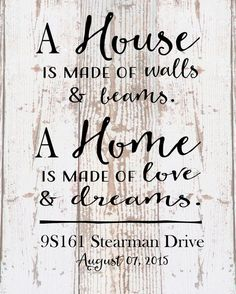 Custom Personalized a home is made of love and dreams Address Date Wood Sign Canvas Housewarming Wedding Realtor, Christmas Gift by HeartlandSigns on Etsy