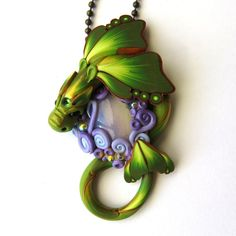 Opalite Treasure Green Dragon Necklace Miniature by Claybykim