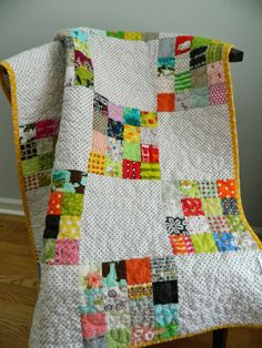 """s.o.t.a.k handmade: scrappy 16 patch quilt using 2.5"""" squares--love the black dot print used instead of solid white"""