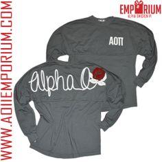 Alpha Omicron Pi Emporium Charcoal coastal jersey with adorable script Alpha O design with a rose!! We love this coastal jersey! AOII!