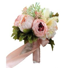 Vintage Artificial Silk Flower Bouquet Home Wedding Decoration ($37) ❤ liked on Polyvore featuring home, home decor, floral decor, artificial flower arrangement, vintage home decor, faux flowers, artificial bouquets and fake flowers