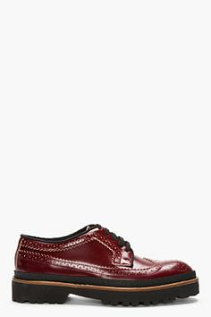 MARNI Red leather thick-soled longwing brogues