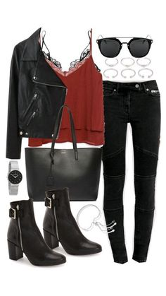 Outfit Jeans, Outfit Chic, Leather Jacket Outfits, Leather Jackets, Look Fashion, Teen Fashion, Fashion Outfits, Womens Fashion, Fashion Weeks