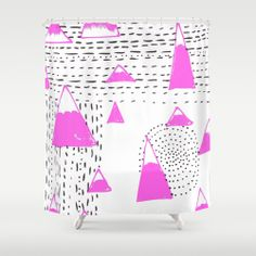 Sketchbook Bink 52 Shower Curtain by Cally Creates   Society6 - mountain pattern sketch on black, pink and white.