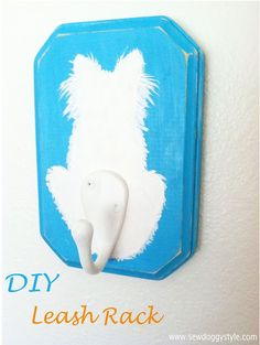DIY Dog Silhouette Leash Rack. Love this - easy to customize with your breed of dog - would make an awesome gift for friends with dogs!
