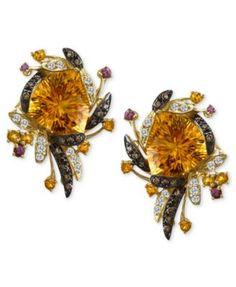 Le Vian Chocolate Diamonds (1/3 ct. t.w.) Cinnamon Citrine (20-1/4 ct.) Pomegranate Garnet (1/4 ct. t.w.) and Vanilla Topaz (3/8 ct. t.w.) Earrings in 14k Honey Yellow Gold