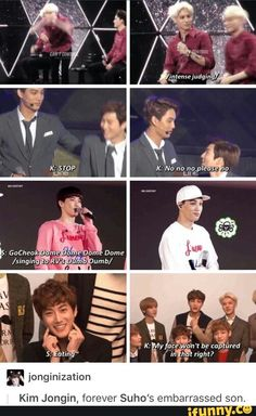 Kai is forever Suho's embarrassed son | Lets Not forget the time he and chanyeol legit sat him down when he was dancing to russian roulette XD <3 ~EXO