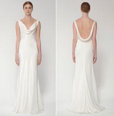 Cowl neck sheath wedding dress Monique Lhuillier Bliss Bridal Collection - BL 1432 Duo