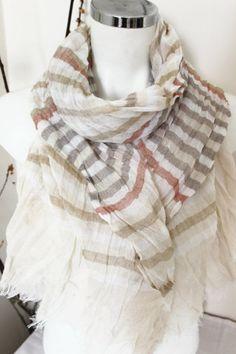 Men's scarves, Men's striped scarf, Men's gifts, Organic linen, Ivory, Beige Pink scarf, Striped scarf men, Cream Men scarves, Striped scarf