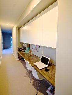 Study Corner, Study Nook, Kids Study, Study Space, Office Nook, Home Office, Laminate Benchtop, Mini Office, Overhead Storage