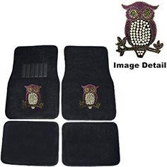 Purple Owl w/ Hearts Gem Crystal Studded Rhinestone Car Truck SUV Front & Rear Seat Carpet Floor Mats
