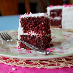 Traditional Red Velvet Cake Recipe by: Leelabean  (Yield: 1 9″x13″ pan, 2 8″ round pans, or 24 regular-sized cupcakes)  2 c cake flour 1 1/2 c granulated white sugar 3 T cocoa powder 1 t baking soda 1 t salt 2 eggs, room temperature 1 c canola oil 4 T unsalted butter, room temperature 1 c buttermilk, room temperature 1 T vanilla extract 1 1/2 t white vinegar 1 T red gel food coloring  *(Note: I recently made this cake but with red wine vinegar instead of white vinegar because I had run…