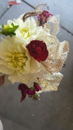 Floral crown made  with Mother of the Bride's wedding dress lace by Olivia @ Liv Events ♡