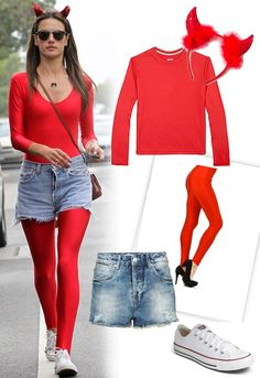 Pin for Later: last minute halloween costumes. Alessandra Ambrosio has the ultimate lazy, last-minute devil costume for Halloween. Angel Halloween Costumes, Easy Halloween Costumes, Cute Halloween, Witch Costumes, Halloween 2013, Costume Halloween, Vintage Halloween, Costume Ideas, Alessandra Ambrosio
