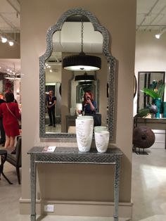 Moroccan motifs continue to inspire including this perfect for small spaces, Alexandria mirror and console table - perfect for small and narrow spaces that don't want to sacrifice drama and style. It is from Studio A a Global Views company.  #StyleSpotted by Meredith Heron for Spring #HPMKT  2014