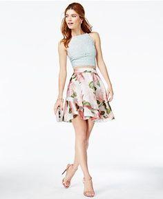 d5a05d0fdf82 Speechless Juniors' 2-Pc. Lace Floral-Print Dress & Reviews - Dresses -  Juniors - Macy's