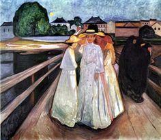 Edvard Munch Edvard Munch. The Ladies on the Bridge. 1902. Oil on canvas. 203 x 230 cm. Thielska Galleriet, Stockholm, Sweden. ما أن يُذكر اسم رسّام ما حتى تقفز إلى الذهن إحدى لوحاته باعتبارها الأش...