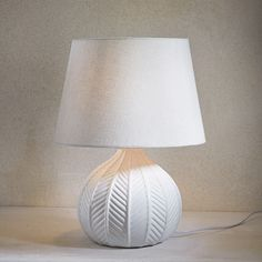 White Ceramic Lamp with Ecru Shade Lampe Metal, Lampe Spot, White Ceramics, Table Lamp, Bright Ideas, Home Decor, Bedroom, House, Bedroom Table Lamps