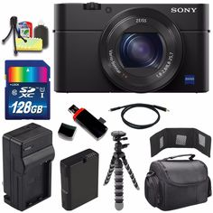 "Sony Cyber-shot DSC-RX100M4 IV Digital Camera + Extra battery + Charger + 128GB Bundle 7 - International Version (No Warranty). This version is originally intended for sale outside the USA, Includes ALL USA Cables and Plugs. User Manual May Not Included. Sony Cyber-shot DSC-RX100M4 IV Digital Camera - 20.1 MP 1"" Exmor RS BSI CMOS Sensor, BIONZ X Image Processor, Internal UHD 4K Video & S-Log2 Gamma, Zeiss Vario-Sonnar T* f/1.8-2.8 Lens, 24-70mm (35mm Equivalent), 2359k-Dot OLED Tru-Finder..."
