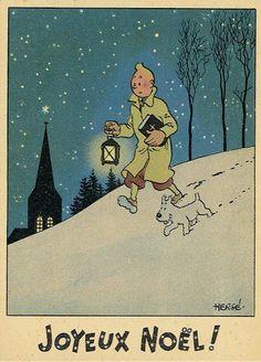 'Joyeaux Noel' from Tintin - (vintage Chrismas, greeting card) Illustration Noel, Christmas Illustration, Illustrations, Vintage Christmas Images, Vintage Holiday, Vintage Comics, Vintage Posters, Comic Art, Comic Books
