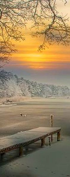 AMAZING WINTER SCENERY #by augustynbatko #snow sunset sea lake ice landscape pier beautiful nature