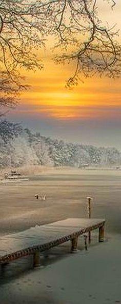 AMAZING WINTER SCENERY #by augustynbatko #snow sunset sea lake ice landscape pier beautiful nature