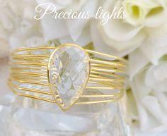 Jonc femme or et quartz cristal de roche