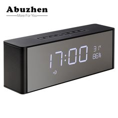 Home Decor Impartial Led Alarm Clock With Wireless Bluetooth Speaker Digital Table Desktop Clock Support Fm Radio Aux Tf Music Player For Home Office Home & Garden