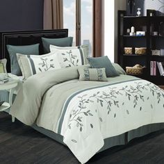 cathay home 8 piece willow comforter set queen greywhite