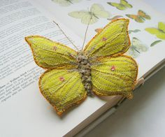 Brimstone butterfly brooch by Agnes & Cora.