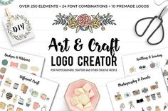 Logo Creator with over 250 handdrawn elements. This pack is perfect for photographers, crafters, bloggers, event planners, wedding venues, florists, interior designers, stylists, boutiques, fashion labels, make-up artists and other beautiful businesses.  This Logo Creator is the perfect solution to polish your brand professionally, at a super affordable price!  All items can be tailored specifically to your business and personal style. You can choose between lots of different elements.